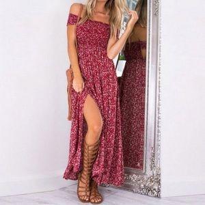 Dresses - Bohemian Off the Shoulder Floral Maxi Dress